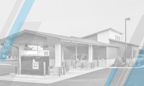 grayscale image of credit union branch with geometric blue and gray overlay
