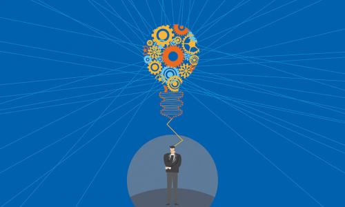 digital illustration of businessman thinking with colorful lightbulb made of gears floats above him