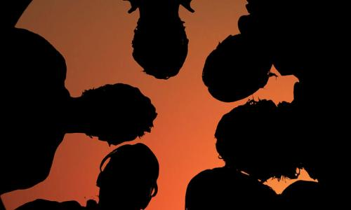 silhouettes of a team of people looking down together in front of an orange sky