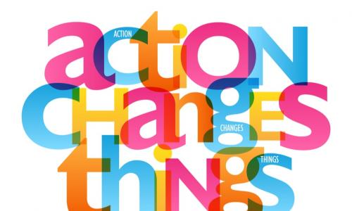 colorful typography of words action changes things