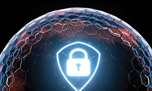 digital image of a glowing padlock and shield on a protective dome