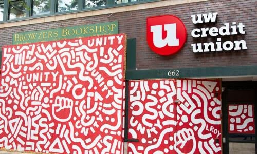 UW CU mural outside State Street branch
