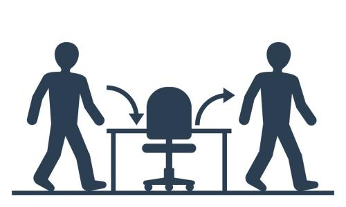illustration of a worker leaving a desk and a new employee coming to the desk