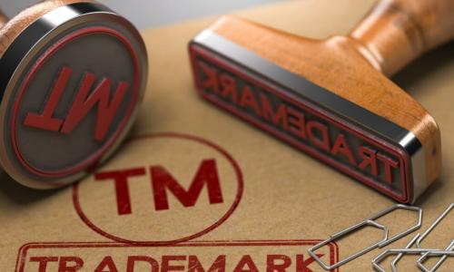 trademark stamps and red ink