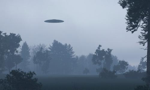 UFO flying in a gray sky