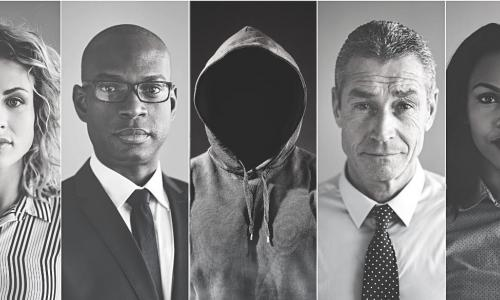 panels with diverse faces including a fraudster in a hoodie
