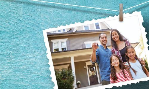 A postcard showing a family in front of their new house hangs against a bright blue wall