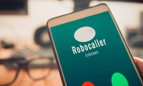 smartphone showing robocall coming in
