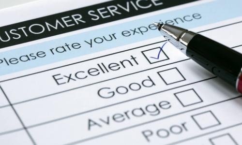 tick placed in excellent checkbox on customer service survey