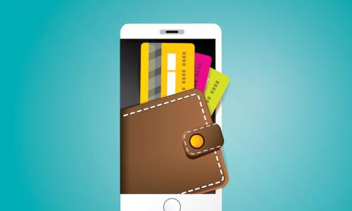 illustration of wallet full of colorful credit cards popping out of a phone screen