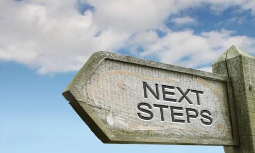 wooden sign pointing left saying next steps